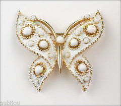 Vintage Crown Trifari Figural White Enamel Cabochon Butterfly Insect Brooch Pin