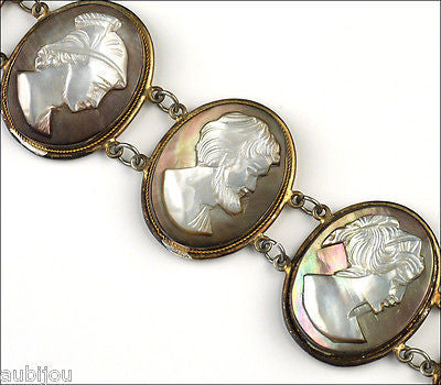 Antique Victorian Sterling Silver Mother Of Pearl Mop Carved God Cameo Bracelet