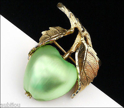 Vintage Napier Frosted Molded Glass Light Green Apple Brooch Pin Fruit Jewelry