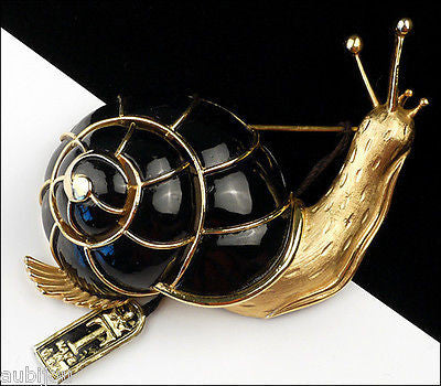Vintage Crown Trifari 3D Figural Black Enamel Snail Brooch Pin 1960's Shell Slug