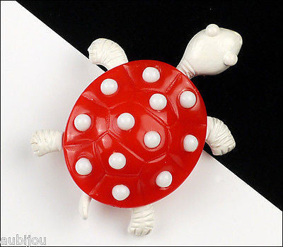 Vintage Trifari Figural White Enamel Red Lucite Turtle Brooch Pin 1960's Reptile