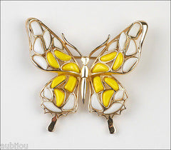 Vintage Trifari Figural White Yellow Mosaic Glass Butterfly Insect Brooch Pin 1960's