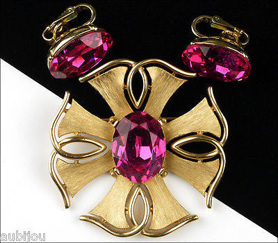 Vintage Trifari Heraldic Fuchsia Glass Rhinestone Cross Brooch Pin Set Earrings