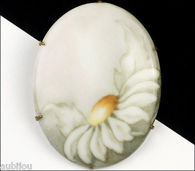 Vintage Porcelain Handpainted Floral White Daisy Flower Brooch Pin 1930's Jewelry