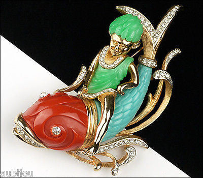 Vintage Unsigned Carnegie Figural Faux Jade Boy Riding Dolphin Fish Brooch Pin