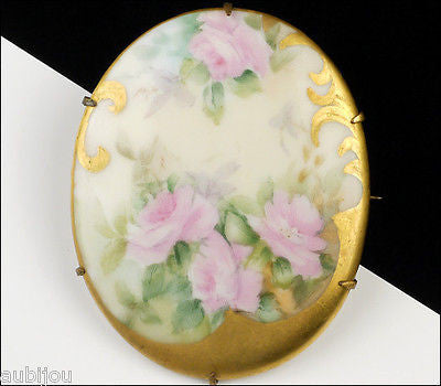 Antique Victorian Porcelain Hand Painted Floral Pink Rose Leaf Flower Brooch Pin