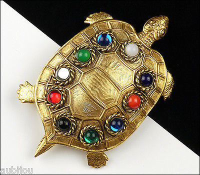 Vintage Large Butler Wilson Figural Glass Cabochon Turtle Brooch Pin Jewelry