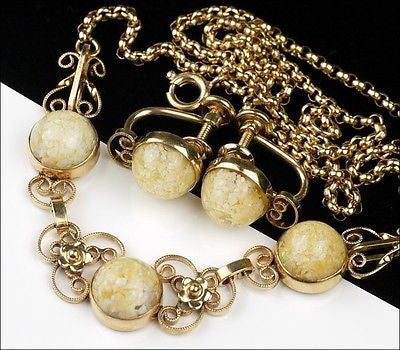 Vintage Van Dell Gold Filled Faux Opal Foil Glass Confetti Necklace Set Choker