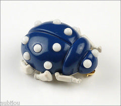 Vintage Trifari Figural Enamel Blue Lucite Lady Bug Insect Beetle Brooch Pin