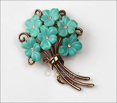 Vintage Trifari Blue Molded Glass Forget Me Not Flower Bouquet Brooch Pin 1950's
