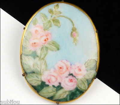 Vintage Porcelain Handpainted Floral Blue Pink Rose Bud Leaf Flower Brooch Pin