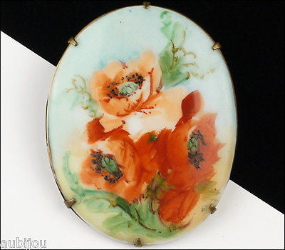Antique Porcelain Art Nouveau Hand Painted Floral Red Poppy Flower Brooch Pin