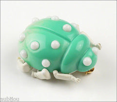 Vintage Trifari Figural Light Turquoise Lucite Lady Bug Insect Beetle Brooch Pin