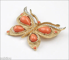 Vintage Crown Trifari Figural Faux Coral Butterfly Brooch Pin Set Insect 1960's