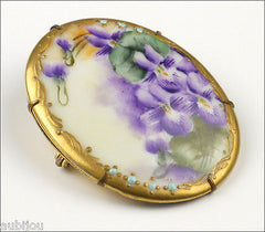 Vintage Porcelain Handpainted Floral Purple Violet Viola Pansy Flower Brooch Pin