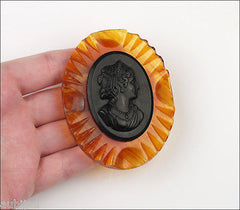 Vintage Carved Apple Juice Amber Lucite Celluloid Cameo Brooch Pin Set Earrings 1950's