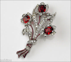 Vintage Trifari 1940's Floral Siam Red Pave Rhinestone Flower Brooch Pin Spaney