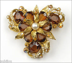 Vintage Signed Art Marked Smoked Topaz Rhinestone Floral Flower Brooch Pin 1960's