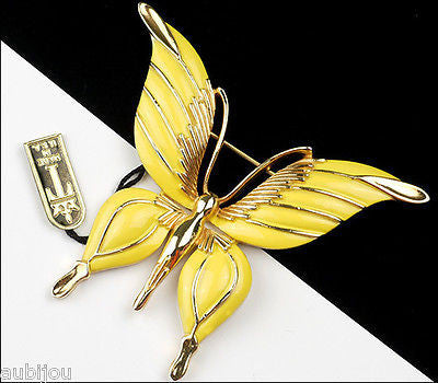 Vintage Crown Trifari Figural Yellow Enamel Butterfly Insect Brooch Pin 1960's