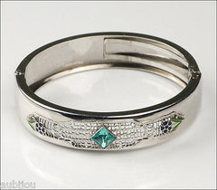 Vintage Art Deco Chrome Plated Filigree Blue Rhinestone Bracelet Bangle 1920's
