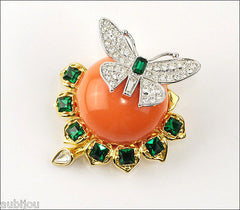 Kenneth Jay Lane KJL Duchess Of Windsor Butterfly Coral Rhinestone Brooch Pin