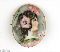 Antique Hand Painted Porcelain Art Nouveau Portrait Miniature Poppy Brooch Pin