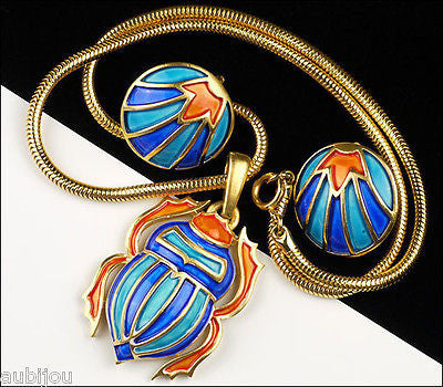 Vintage Crown Trifari Egyptian Revival Enamel Scarab Beetle Pendant Necklace Set