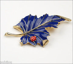 Vintage Crown Trifari Floral Cobalt Blue Enamel Leaf Ladybug Insect Brooch Pin