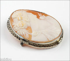 Antique Filigree 14K White Gold Genuine Shell Flora Cameo Brooch Pin Pendant