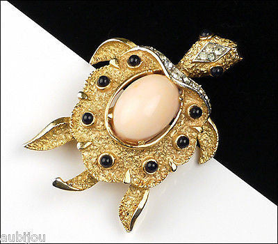 Vintage Crown Trifari Faux Angel Skin Coral Rhinestone Turtle Brooch Pin 1960's
