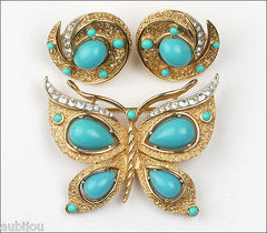 Vintage Trifari Figural Blue Faux Turquoise Butterfly Brooch Pin Set Insect 1960