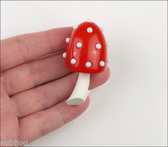 Vintage Crown Trifari Figural Enamel Red Lucite Mushroom Brooch Pin Toadstool