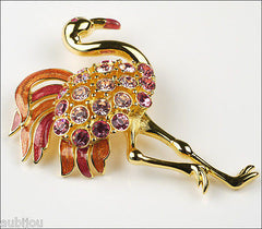 Vintage Large Trifari Limited Edition Rose Rhinestone Flamingo Bird Brooch Pin