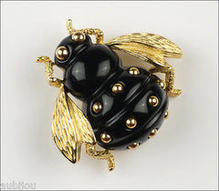 Vintage Crown Trifari Figural Black Lucite Bee Bug Fly Insect Brooch Pin 1960's