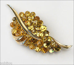 Vintage Trifari Briolette Light Topaz Faceted Glass Rhinestone Leaf Brooch Pin