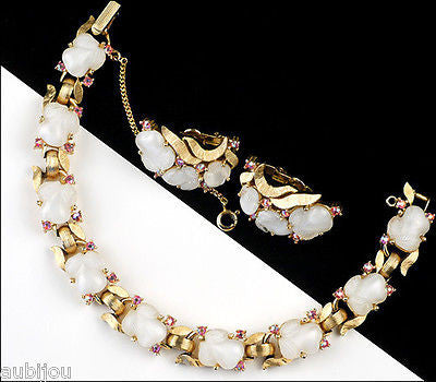Vintage Trifari Fruit Salad White Moonstone Cabochon Leaf Bracelet Set Earrings