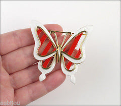 Vintage Crown Trifari Figural White Red Enamel Butterfly Insect Brooch Pin 1960's