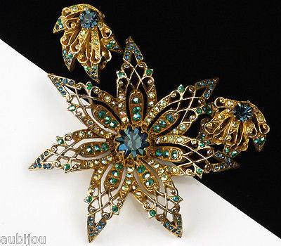 Vintage Signed Art Montana Blue Aurora Borealis Rhinestone Flower Brooch Pin Set