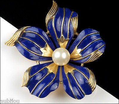 Vintage Crown Trifari Cobalt Blue Enamel Floral Dogwood Flower Brooch Pin 1960's