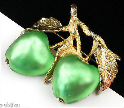 Vintage Napier Frosted Glass Light Green Double Apple Brooch Pin Fruit Jewelry
