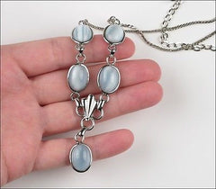 Vintage Amco Sterling Silver Light Blue Moonstone Glass Necklace Earrings Set