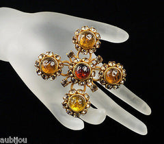 Vintage Dominique Aurientis Rhinestone Brooch Pin Haute Couture Gripoix Style
