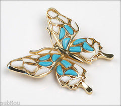 Vintage Trifari Figural White Blue Mosaic Glass Butterfly Insect Brooch Pin Set