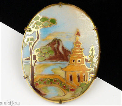 Vintage Porcelain Oriental Asian Painted Scenic Pagoda Fudziama Brooch Pin 1920's