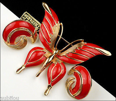 Vintage Crown Trifari Figural Red Enamel Butterfly Insect Brooch Pin Set Earring
