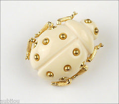 Vintage Trifari Figural Light Cream Lucite Lady Bug Insect Beetle Brooch Pin