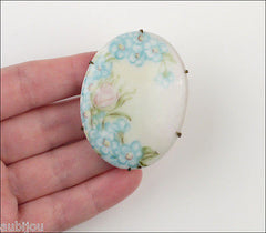 Vintage Porcelain Handpainted Light Blue Forget Me Not Flower Brooch Pin 1920's