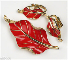 Vintage Crown Trifari Floral Red Enamel Leaf Brooch Pin Earrings Set Retro 1960S