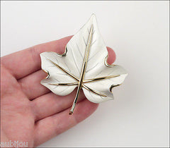 Vintage Crown Trifari White Enamel Floral Leaf Brooch Pin Earrings Set 1960's