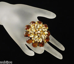 Vintage Signed Art Marked Openback Smoked Topaz Rhinestone Flower Brooch Pin 1960's